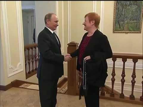 Vladimir Putin Meets Tarja Halonen Former Finnish President