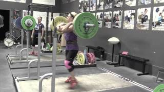 Alyssa muscle snatch, Danielle pause front squat, Alyssa snatch grip press bnk, Brian snatch high-pull + snatch, Danielle snatch deadlift, Audra jerk. - Weight