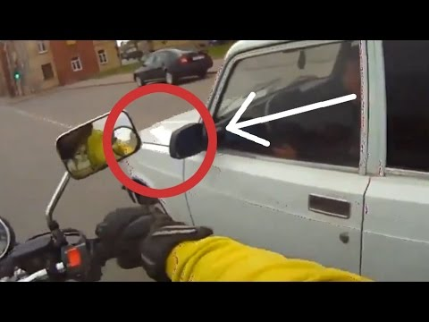 smashing - Angry bikers have a fit of road rage. Smash car window and hit off mirrors. And counting...