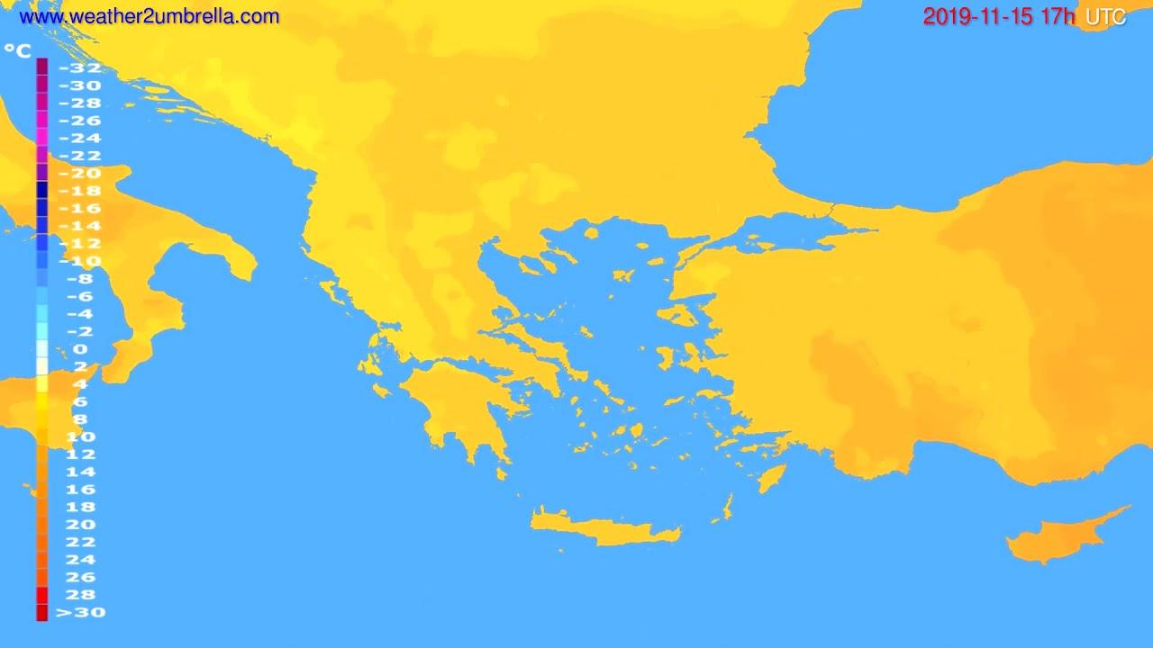 Temperature forecast Greece // modelrun: 00h UTC 2019-11-14