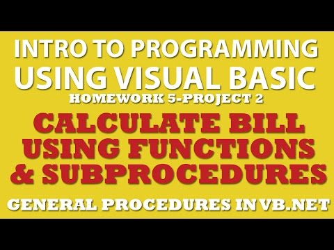 VB.net Calculate a Bill (pp 5-2) Using Functions and Sub Procedures