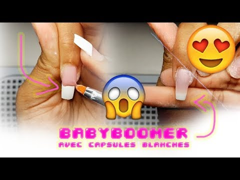 Gel nails - HOW TO: EASY BABYBOOMER GELNAILS W/ WHITE TIPS  BABYBOOMER FACILE AVEC CAPSULES BLANCHES