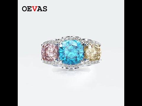 Oevas 100% 925 стерлингового серебра, розового, голубого, желтого цветов 5a кольца zir… видео