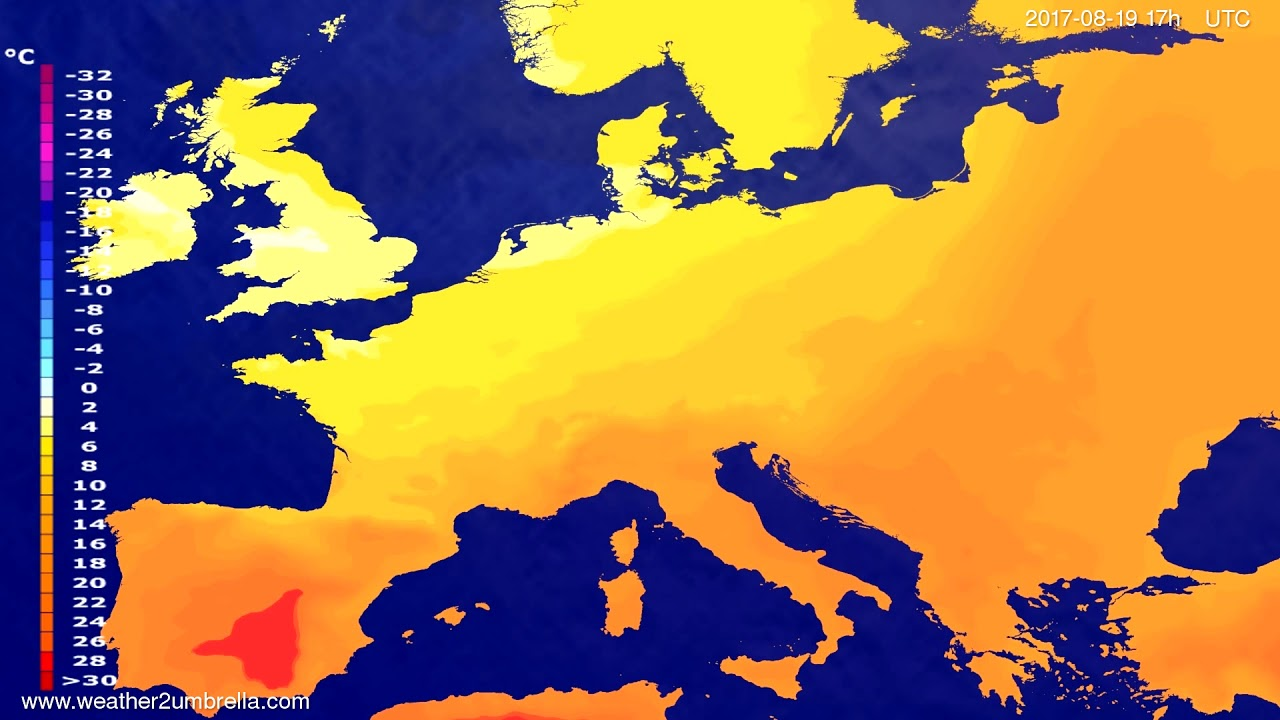 Temperature forecast Europe 2017-08-17