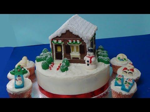 how to make xmas house cake using  chocolate mold