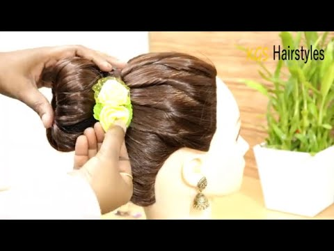 Hairstyles for short hair - Simple Party Juda Hairstyles  Bun Hairstyle for Short Hair  Medium Hair Hairstyle  Hairstyles