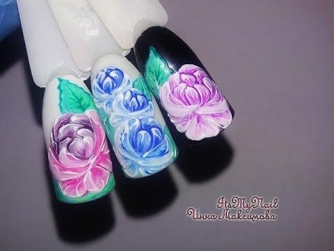 Как нарисовать пионы на ногтях