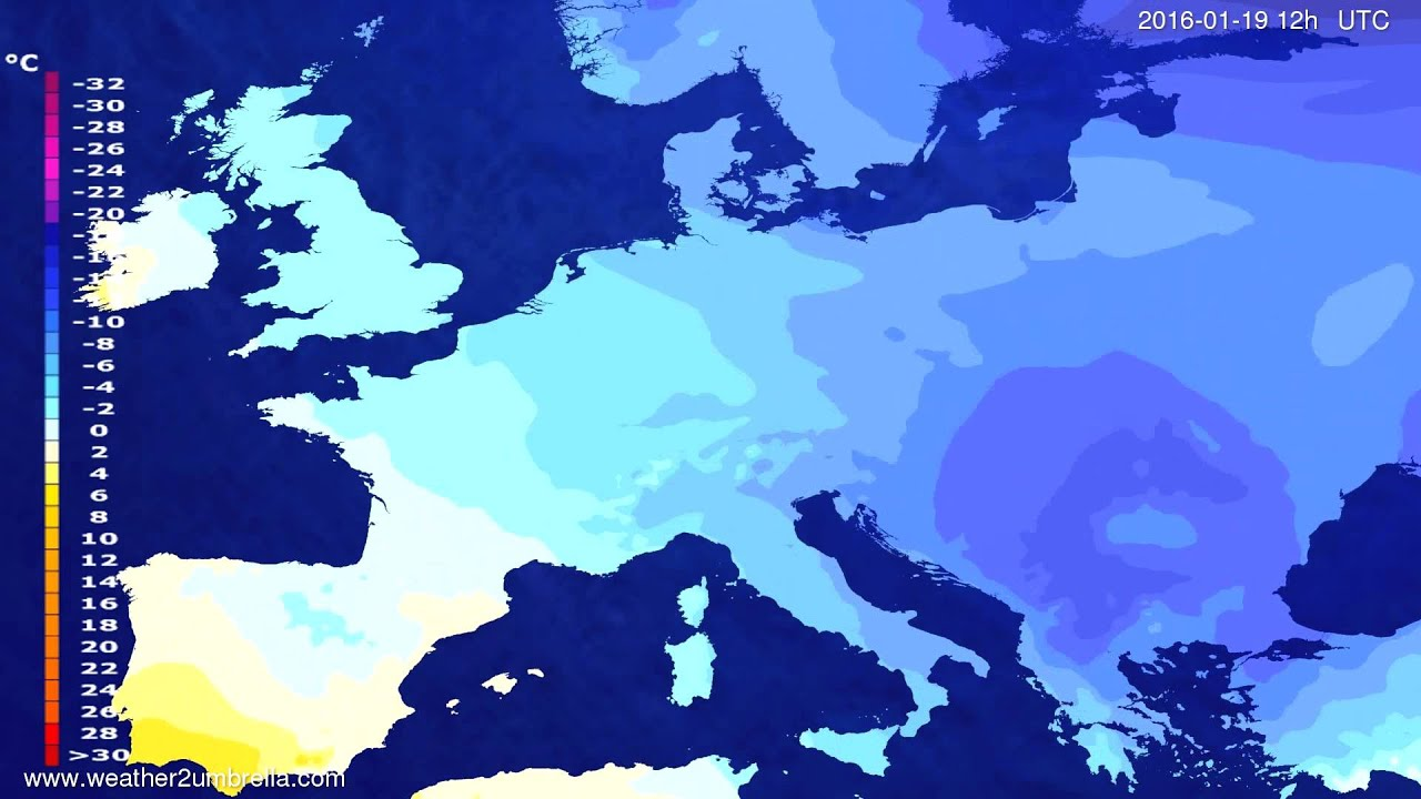 Temperature forecast Europe 2016-01-15