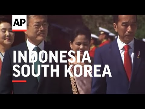 Indonesia's president welcomed by South Korea counterpart in Seoul