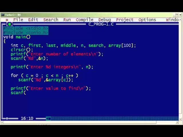 C de binary search