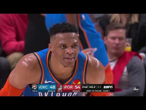 Russell Westbrook 04/14/2019 Oklahoma City Thunder vs Portland Trail Blazers Highlights