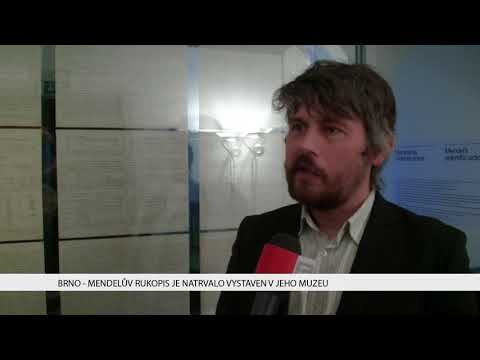 TV Brno 1: 8.2.2018 Mendelův rukopis je natrvalo vystaven v jeho muzeu.