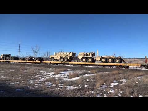 BNSF Mixed Freight with Military Vehicles in Greenland, CO