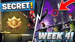 Fortnite: Season 4 WEEK 4 HIDDEN Battlestar Location! FREE Battle Pass Tier (Secret Blockbuster #4)