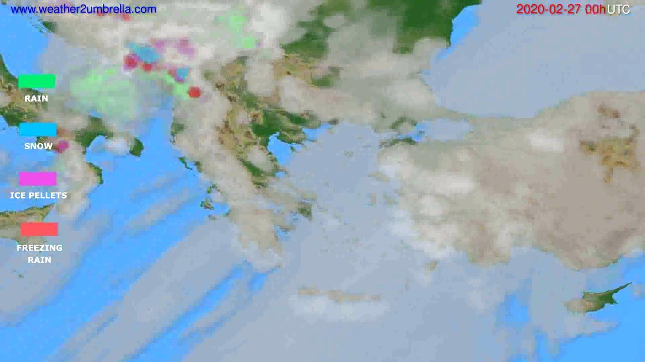 Precipitation forecast Greece // modelrun: 00h UTC 2020-02-26