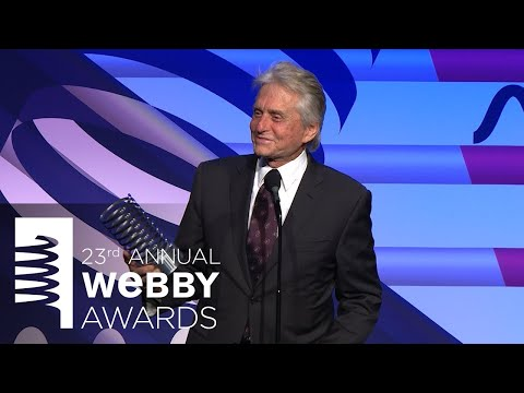 Sarah Baker Presents Michael Douglas With A Special Achievement At The 23rd Annual Webby Awards