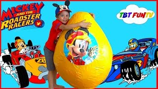 NEW Mickey and the Roadster Racer Toys Disney Giant Egg Surprise Opening Toy Cars