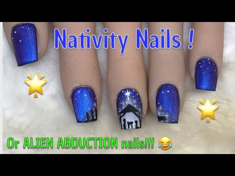 Gel nails - Nativity Nails  Alien Abduction Nails!!!  Modelones.com