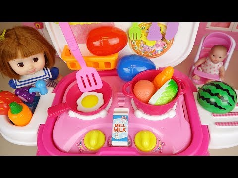 Baby Doll Food Cooking Kitchen And Surprise Eggs Baby Doli Play