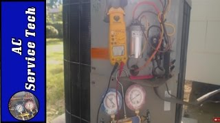"In this HVAC Video, I go over a No A/C Service Call and all the Steps I took to fix the system to get the Air Conditioning back up and working. I performed Electrical Troubleshooting and Compressor Resistance Reading, Amperage draw, Measurement of Refrigerant Level, and how to thoroughly complete the job.Supervision is needed by a licensed HVAC Tech while doing this as Experience and Apprenticeship garners Wisdom and Safety.These Videos are all part of our Training Series on HVACR Service, Installation, Preventative Maintenance, General Knowledge, and Tips. Please comment and ask for videos that you would like to see in the future! We come out with new videos every few days from my job sites, service calls, and the training shop! I hope you enjoy and find them very beneficial! See you next time at ACSERVICETECH Channel!Check out this Playlist Next!Air Conditioning and Heat Pump Refrigerant Charging-----https://www.youtube.com/playlistlist=PLxnHR5_D2ojzAUXWWQt9A8juotNkzwYlkPlease add any Questions or Comments in the Box Below and I will Get Back with You!ACSERVICETECH is a participant in the Amazon Services LLC Associates Program, an affiliate advertising program designed to provide a means for sites to earn advertising fees by advertising and linking to Amazon.com.You can enter Amazon through this Affiliate Link found here or in the "" Discussion"" Channel Page Comments http://amzn.to/2aenwTqPrices are the same as usual. (Link has to be clicked on from an ACSERVICETECH YouTube source and not cut and pasted)The above link happens to be the Gauge Set that I use in my refrigerant videos but you can search from there.Here is the link to the Antioxidant Compound http://amzn.to/2rBahFLHere is the link for the Irwin Wire Stripper/Cutter/Crimper   http://amzn.to/2dGTj2VHere is the link to the Stanley 6 in 1 Screwdriver  http://amzn.to/2q2SAheHere is a link to the UEI DL389 Multimeter used in the video  http://amzn.to/2av8s3qHere is a link to Refrigerant hoses with valves used in the videos  http://amzn.to/2aBumVI   Here is the Link for the Yellow Jacket Refrigerant Manifold Gauge Set used in the videos http://amzn.to/2aenwTqHere is the link to the Fieldpiece SDMN6 Dual Pressure Testing Manometer with Pump-http://amzn.to/2jyK5KaHere is a link for the Supco Magnet Jumpers http://amzn.to/2gS4h6zHere is a link to the Digital Refrigerant Scale used in the videohttp://amzn.to/2b9oXYlHere is a link to the Imperial 535-C Kwik Charge Vaporizer for Charging Refrigerant-   http://amzn.to/2r30gTUHere is a link to the thermostat 3/32 screwdriver --  http://amzn.to/2hxt7uKHere is a link to the C&D core removal tool  http://amzn.to/2bFpobQHere is a link to the JB 6 CFM Vacuum Pump   http://amzn.to/2nqbvo8Here is a link to the JB Platinum 5 CFM Vacuum Pump with Valve  http://amzn.to/2mGKcShHere is a link to 1 gallon of JB Vacuum Pump Oil   http://amzn.to/2mGrlXyHere is a link to the Supco Vacuum Micron Gauge  http://amzn.to/2bH98bOHere is a link to the 1/4"" by 1/4"" female coupler from Supco - http://amzn.to/2kFrbU9Here is a link to the Hilmor 4 port Aluminum Manifold Gauge Set- http://amzn.to/2m4QLikHere is a link to the Supco core removal tool  http://amzn.to/2brEJcoHere is a link the Nitrogen Regulator    http://amzn.to/2bXdR5fHere is a link to the Nitrogen Flow Meter    http://amzn.to/2brvoBgHere is a link to the General Tools digital Psychrometer http://amzn.to/2cSHsi1Here is a link to the Amprobe Digital Psychrometer http://amzn.to/2d7cGkWHere is a link to the Fieldpiece SDP2 Digital Psychrometer- http://amzn.to/2nniMVRHere is the UEI Digital Manometer used in the videos  http://amzn.to/2c1XkiTHere is the link for the Ratcheting Service Wrench   http://amzn.to/2dGV4NhHere is a link to the Appion G5 Twin Recovery Pump   http://amzn.to/2dGSEyrHere is a link for RectorSeal Bubble Gas Leak Detector http://amzn.to/2ckWACnHere is a link to the air acetylene torch setup-    http://amzn.to/2aQalsb   Here is a link to the Malco Snap Lock Punch http://amzn.to/2cY53AgHere is a link to the Wiss 3 Pack Tin Snips http://amzn.to/2bHWhWOHere is a link to the Wiss 5 Blade Crimper http://amzn.to/2bwTlsWHere is a link to the Wiss Hand Seamers  http://amzn.to/2dRk83vHere is the link for the Hitachi Lithium Ion Drill and Flashlight kit  http://amzn.to/2dzNgkLHere is the link for the Irwin Wire Stripper/Cutter/Crimper   http://amzn.to/2dGTj2VHere is the link for the Hilmor 12"" folding tool    http://amzn.to/2d9VTPRHere is the link for the Malco 3"" Blade Combination Snips  http://amzn.to/2dz7EjcThanks for your support! I believe this to be the verybest price I have found. Please let me know if anyone finds a lower price anywhere!Thank You, ACSERVICETECH"