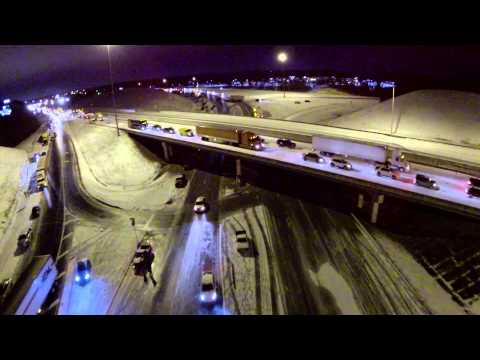 Aerial Video of Winter Storm from Birmingham