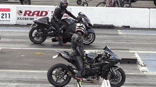 H2 Ninja vs Hayabusa - motorcycles drag racing