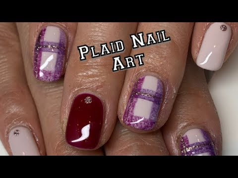 Gel nails - Easy Buffalo Check Nail art Tutorial - Gel Polish (Plaid Nails)