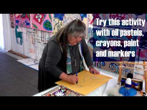 Still image from Melanie Yazzie: Art Lives Here activity inspired by a parfleche