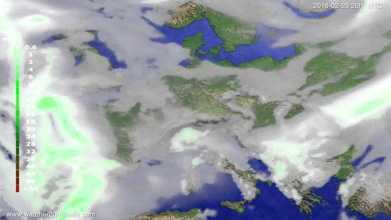 Precipitation forecast Europe 2016-02-24