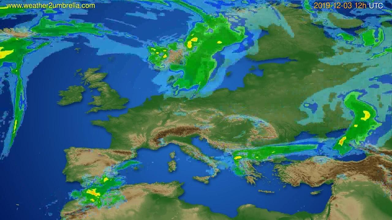 Radar forecast Europe // modelrun: 00h UTC 2019-12-03