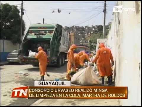 Consorcio Urvaseo realizó minga de limpieza en la cdla. Martha de Roldós