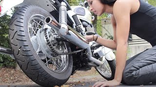 10. GIRL CHECKS OIL LEVELS ON MOTORCYCLE | Triumph Bonneville T100