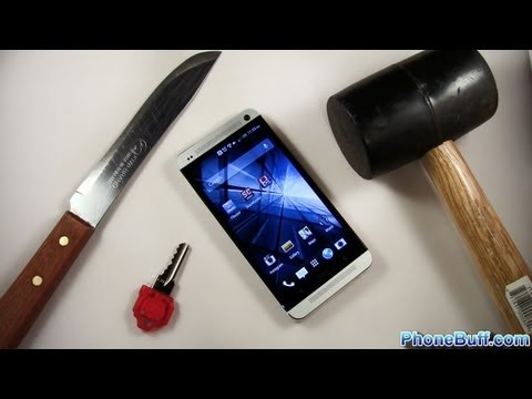 htc - I test the durability of the HTC One by doing a scratch test with a key and knife, then test the screen by slamming it with a hammer to see if it can handle ...