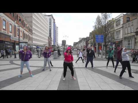 A group of Fixers led by Ellie Walsh, 18, breaking the sterotypes against young people who wear hoodies perform a unique flashmob to promote their message in Cardiff City Centre