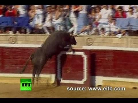 bullring - 40 people were injured in northern Spain on Wednesday when a raging bull jumped into the packed grandstands of a bullring and ran amok. The terrifying incide...