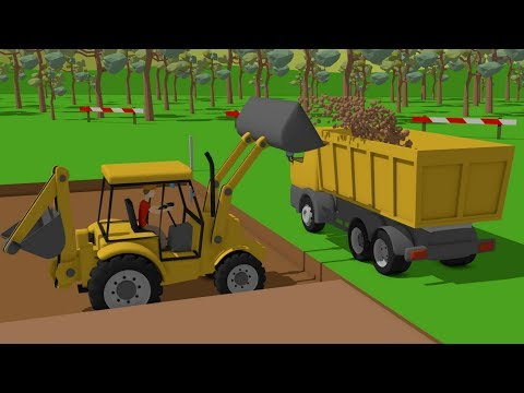 #Excavator and Truck, Dump Truck and Concrete Mixer Truck   Street Vehicles   Maszyny Budowlane