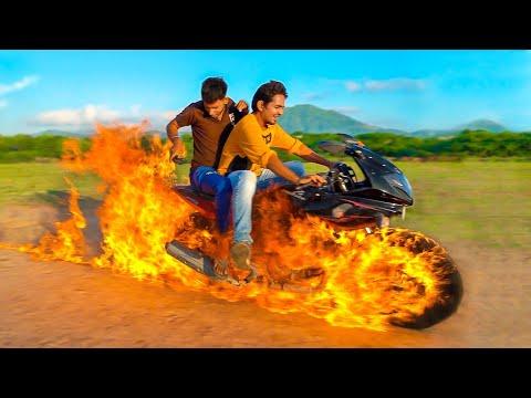 चलती गाड़ी में लगा दी आग - Ghost Rider Bike 100% Real