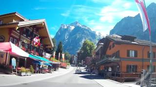 A drive through Grindelwald, Switzerland on 30.07.2016 using a Nextbase 402g dashcam, mounted in the windscreen of a Mini.