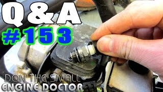 """Welcome to my Q&A series where your Small Engine questions are answered!QUESTIONS & TIPS IN THIS VIDEO1.  Do you get a shock when checking for spark on a small engine? 0:452. Why would a chainsaw overheat if you remove the top cover?2:113. Why is my lawn tractor battery dead, I just put it in a few years ago? 3:174. What oil should I use in my lawnmower? 5:055. Do you use brake cleaner in your shop to clean parts? 5:576. Two other products that I use to clean parts. 6:367. Damage caused by rodents to equipment and how to prevent it. 7:278. My favorite fuel treatment that I use in the shop! 8:39Watch my K100 """"water test"""" video here;https://www.youtube.com/watch?v=5p89dk5tZuEHelp me make videos! http://patreon.com/donyboy73Follow me on Facebook; https://www.facebook.com/pages/Donybo...Twitter;https://twitter.com/donyboy73Instagram: http://instagram.com/donyboy73/GOOGLE+ https://plus.google.com/u/0/b/1016213...Due to factors beyond the control of DONYBOY73 """"The Small Engine Doctor"""", it cannot guarantee against unauthorized modifications of this information, or improper use of this information.  DONYBOY73 """"The Small Engine Doctor"""" assumes no liability for property damage or injury incurred as a result of any of the information contained in this video. DONYBOY73 """"The Small Engine Doctor"""" recommends safe practices when working with power tools, hand tools, lifting tools, jack stands, electrical equipment, blunt instruments, chemicals, lubricants, or any other tools or equipment seen or implied in this video.  Due to factors beyond the control of DONYBOY73 """"The Small Engine Doctor"""", no information contained in this video shall create any express or implied warranty or guarantee of any particular result.  Any injury, damage or loss that may result from improper use of these tools, equipment, or the information contained in this video is the sole responsibility of the user and not DONYBOY73 """"The Small Engine Doctor"""".#DIY"""