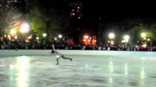 """Emily Hughes, 2006 Olympian and 2007 US National silver medalist, skating to """"Glitter in the Air"""" at the Frog Pond Opening Show in Boston, 11/21/10."""