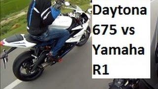10. Yamaha R1 vs Daytona 675 vs KTM Duke. High Speed Action. India.