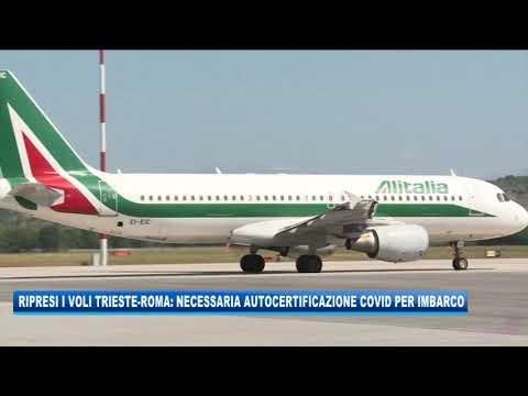07/09/2020 - RIPRESI I VOLI TRIESTE-ROMA: NECESSARIA AUTOCERTIFICAZIONE COVID PER IMBARCO