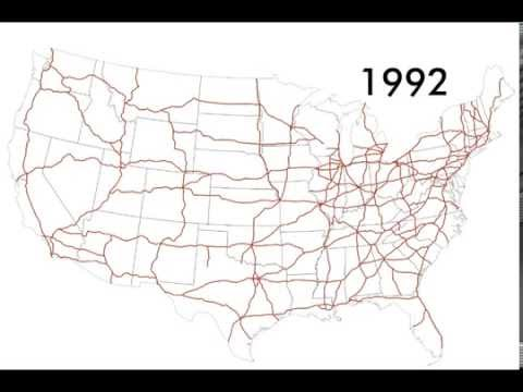 US Interstate highway system time lapse