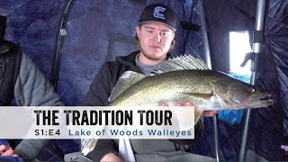 """In this episode of The Tradition Tour Staffers Adam Bartusek, Brent Relopez, Chris Berglund, and Sam Sobieck meet up with guest hosts Wyatt and Dave Lemke to head north to Sportsman's Lodge on Lake of the Woods. In this episode the boys target walleye and sauger in portables and permanent houses. Wyatt and Dave were randomly selected in a giveaway held on the Ice Fishing Minnesota Facebook page.Filmed and Edited by: Sam SobieckSportsman's Lodge:http://sportsmanslodges.com/https://www.facebook.com/sportsmanslodges/Ice Fishing Minnesota:https://www.facebook.com/groups/IceFishingMinnesota/Jigs:Clam Pro Tackle Rattlin' Blade Spoonhttp://stores.clamoutdoors.com/clam/t...Clam Pro tackle JM Rattlin' Blade Spoonhttp://stores.clamoutdoors.com/jm-custom-color-rattlin-blade-spoon.htmlClam Pro Tackle Blade Jighttp://stores.clamoutdoors.com/clam/tackle/jigs/blade-jig.htmlRods:DH Custom Rods Perch Pounderhttp://www.dhcustomrods.com/product-page/fe4434c9-8d2d-f315-d34e-2d389ed954e7Baitrunner MH Carbon 30"""" (Walleye Stinger)http://www.dhcustomrods.com/dh-ice-rodsJM Gen7 Elite Series 28""""http://stores.clamoutdoors.com/jason-mitchell/jason-mitchell-gen7-elite-series.htmlClam Ice Team Professional Series 26"""" Medium Action Walleyehttp://stores.clamoutdoors.com/clam/r...Reels:Shimano Sienna 500FD Spinninghttp://www.gandermountain.com/modperl...Shimano Sahara 500FEHouse:Clam 6 pack 1660 Mag Thermalhttp://stores.clamoutdoors.com/clam/shelters/pop-up-hub/six-pack-1660-mag-thermal.htmlClam Yukon X Thermalhttp://www.gandermountain.com/modperl...Suit:Ice Armor by Clam Lift Suit Bibshttp://www.gandermountain.com/modperl...Ice Armor by Clam Lift Suit Parkahttp://www.gandermountain.com/modperl...Flasher:Vexilar FLX-28http://www.gandermountain.com/modperl...Auger:8"""" K-Drill w/ Milwaukee M18 Fuelhttp://icefishingtoday.com/ice-fishin..."""