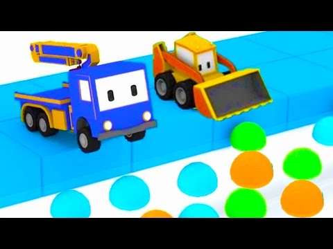 Hide And Seek : Learn with Tiny Trucks: bulldozer, crane, excavator , Educational cartoon