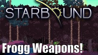 What's up guys! Check out these sexy new Frogg weapons and another special little item at the end. Don't forget about the upcoming competition on Reddit for Custom weapons! Smack that Like button if you enjoyed!Weapon Codes: https://pastebin.com/N2tYGFTKWeapon Contest: https://www.reddit.com/r/starbound/comments/6b9x86/announcement_vanilla_weapons_contest_2/