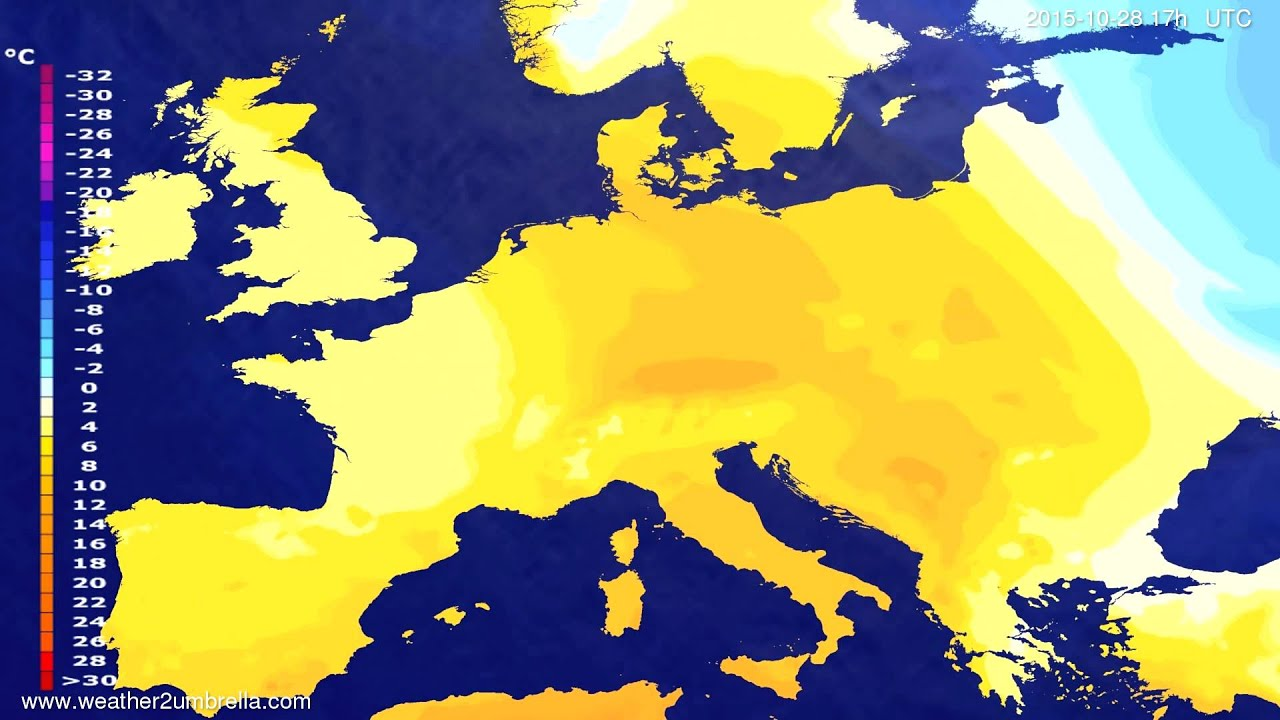 Temperature forecast Europe 2015-10-26