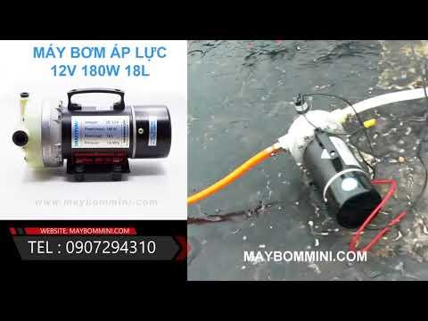 Khách test máy bơm áp lực 12V 180W mạnh đẩy xa bằng bình ắc quy