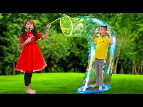 Wendy Pretend Play with Giant Bubbles   Fun Bubble Toys for Kids