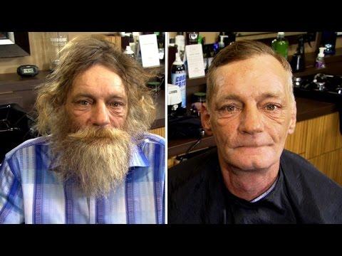 流浪7年的街友獲得免費的理髮待遇後,大家都無法相信鏡子裡的「帥大叔」之前是個邋遢街友…